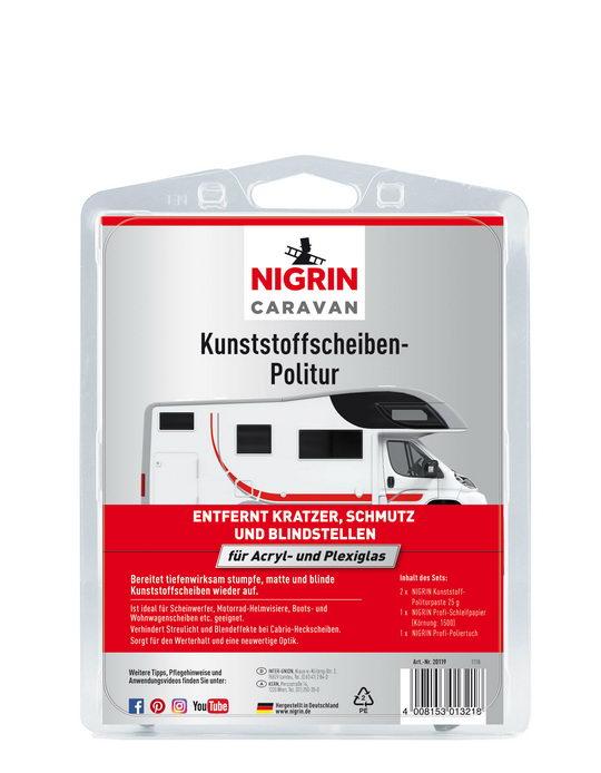 NIGRIN CARAVAN Kunststoffscheiben-Politur  (Set: 2x Politurpaste 25 g, Schleifpapier, Poliertuch)
