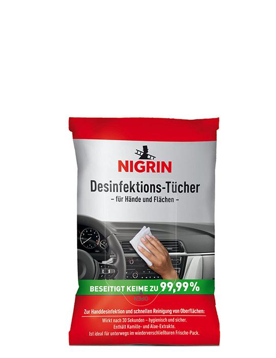NIGRIN Desinfektions-Tücher für Hände und Flächen (12 Tücher)